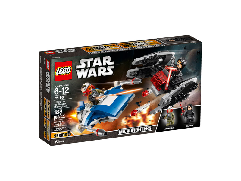 LEGO 75196 Star Wars A Wing vs TIE Silencer Microfighters