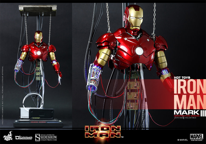 Iron Man Mark III Construction Version Figure by Hot Toys