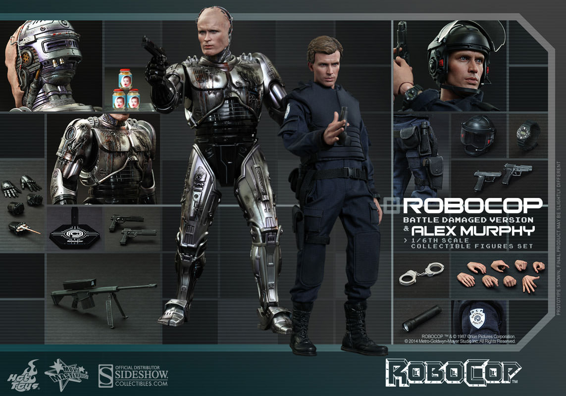 RoboCop Battle Damaged Version and Alex Murphy Set by Hot Toys