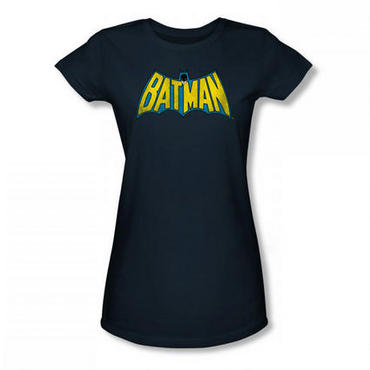 Batman Classic Logo Navy Women's Fitted T-Shirt - Large
